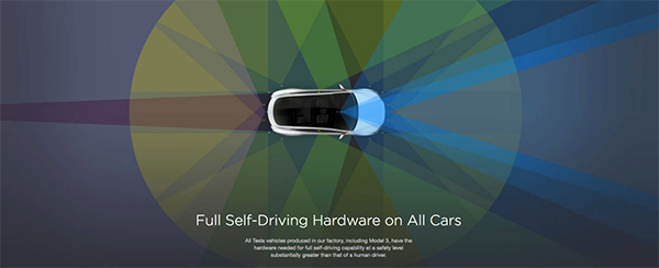 搭载全自动驾驶硬件的特斯拉车型开始量产