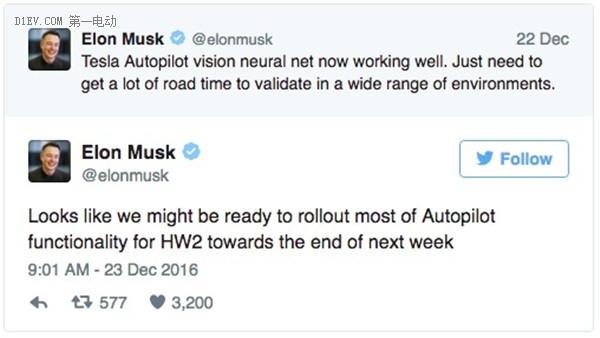 马斯克称有望在下周推出Autopilot 2系统