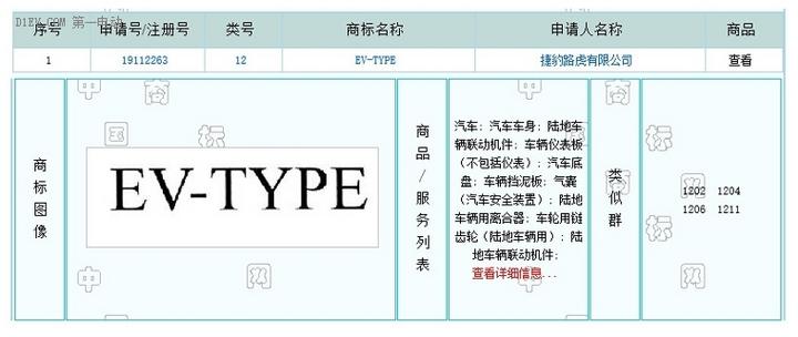 或推纯电动跑车 捷豹注册EV-TYPE商标