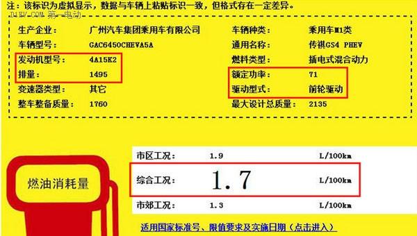 传祺GS4 PHEV插电混动百公里油耗仅1.7升 将于上海车展上市