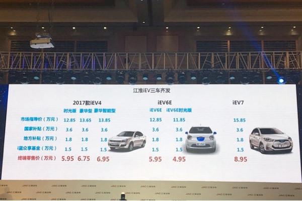江淮iEV三款新车上市,补贴后售价最低4.95万元