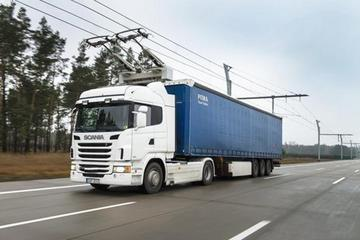 斯堪尼亚电动卡车路试 为架空传导供电
