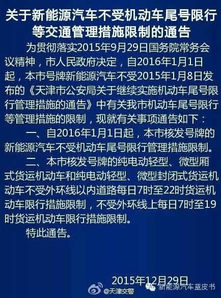 天津2016年起对新能源汽车实施不限行措施