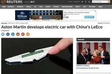 """乐视与阿斯顿·马丁""""联姻"""":海外媒体都说些了啥?"""