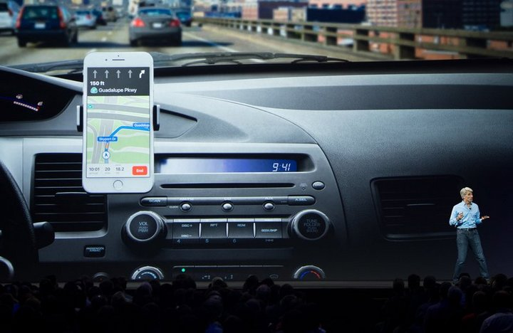 Apple is working on a smart windshield that uses augmented reality that displays FaceTime calls, a patent shows. Apple's Senior Vice President of Software Engineering Craig Federighi speaks about CarPlay on stage during Apple's World Wide Developers Conference in 2017.