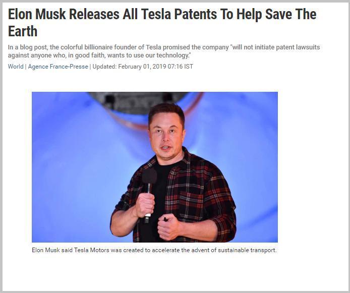 马斯克宣布释放所有电动汽车制造商特斯拉的专利