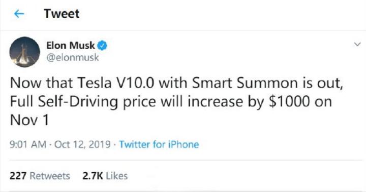 特斯拉V10增加智能召唤功能 价格上调1000美元