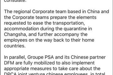 PSA集团调回在武汉工作的38名外籍人员及家属