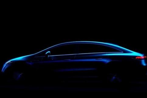 奔驰EQS最新预告图曝光 有望于4月份2021上海车展首发