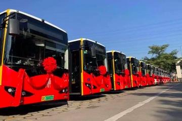 """驿联首个大型充电岛项目,亮相""""广州二汽""""番禺纯电动公交车运营投放仪式"""