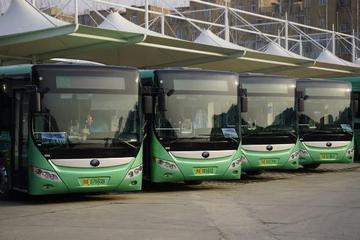 """河南郑州:""""绿色""""新能源号牌首次亮相BRT公交车"""