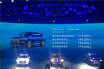 补贴后售价17.98-21.98万元 比亚迪宋Pro EV正式上市