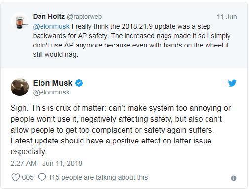 特斯拉软件升级后安全警示太频繁 用户抱怨太唠叨