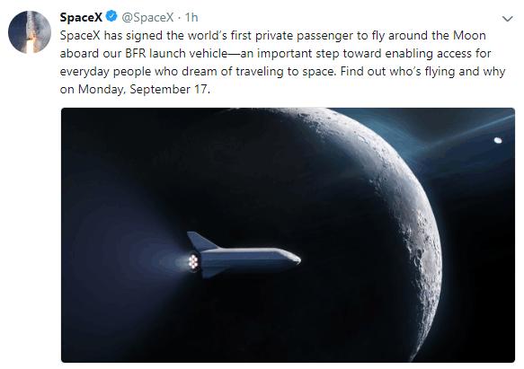 SpaceX签下全球首个私人环月之旅 马斯克透露游客或为日本人