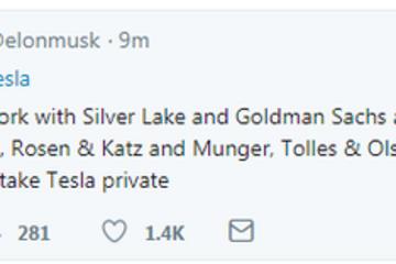 马斯克:正与银湖资本、高盛合作推进特斯拉私有化