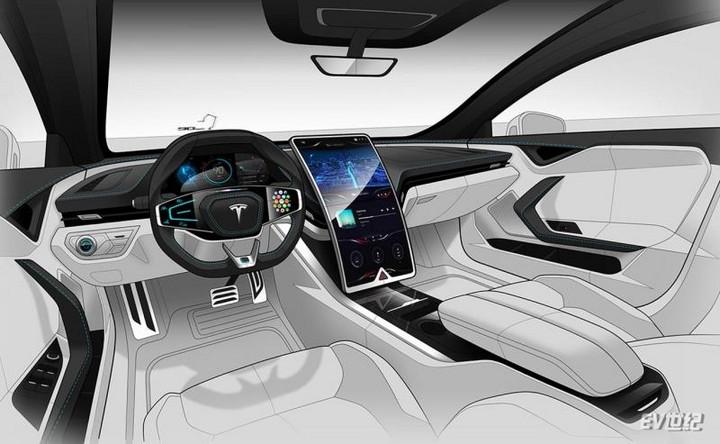 方向盘触控按键/曲面大屏 疑似特斯拉新款Model S内饰渲染图