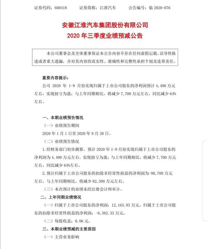 销量,江淮汽车,<a class='link' href='https://www.d1ev.com/tag/江淮大众' target='_blank'>江淮大众</a>,江淮财报