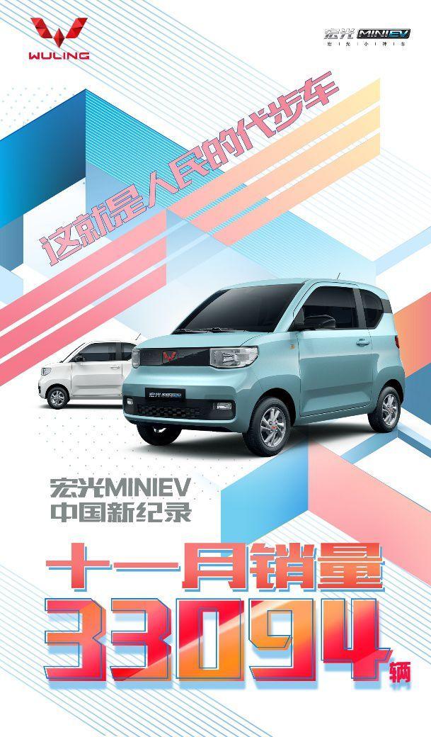 再破销量记录 宏光MINIEV 11月销量达33094辆